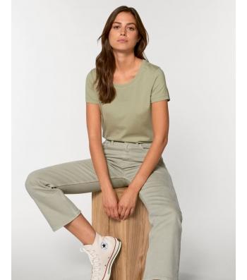 TEE-SHIRT femme coton bio coupe féminine  et cintrée couleur vert sauge