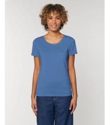 TEE-SHIRT femme coton bio coupe féminine  et cintrée beau bleu lumineux