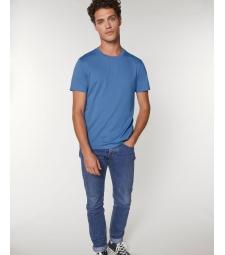 TEE-SHIRT homme coton bio col rond, coupe classique, couleur bleu