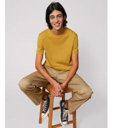 TEE-SHIRT homme coton bio col rond, coupe classique  jaune ocre