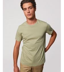 TEE-SHIRT homme coton bio col rond, coupe classique vert sauge