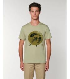 TEE-SHIRT homme coton bio col rond, coupe classique vert sauge impression poissons