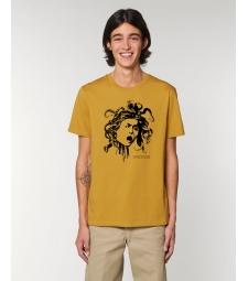 TEE-SHIRT homme coton bio col rond, coupe classique  jaune ocre impression Méduse Caravage