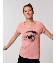 TEE-SHIRT rose femme coton bio manches repliées impression Oeil