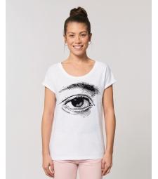 TEE-SHIRT blanc femme coton bio manches repliées impression Oeil
