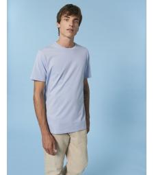 TEE-SHIRT homme coton bio col rond, coupe classique bleu lavande
