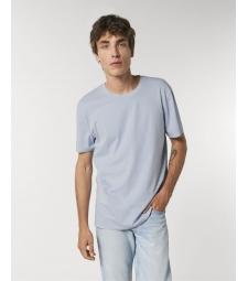 TEE-SHIRT homme VINTAGE délavé coton bio col rond, coupe classique bleu lavande
