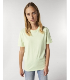 TEE-SHIRT femme coton bio col rond, coupe classique vert pastel