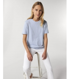 TEE-SHIRT femme coton bio col rond, coupe classique bleu lavande