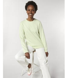 SWEAT col rond Coton BIO vert pastel