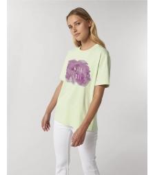 "TEE-SHIRT coton bio coupe ample femme - vert pastel avec impression ""with love"""