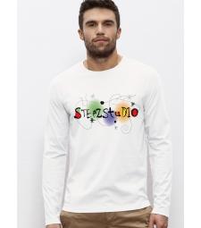 TEE-SHIRT homme Manches longues 100% Coton Bio doux équitable Blanc -  Imprimé numérique Steez by Barcelone  Shuffles 169
