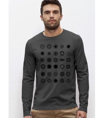 TEE-SHIRT homme Manches longues Coton Bio doux équitable Gris anthracite -  Imprimé numérique Soleils Noirs 107