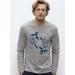 Manches longues TEE-SHIRT homme 100% Coton Bio doux équitable gris chiné - Poissons chinés bleu