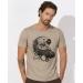 TEE-SHIRT homme  100% Coton Bio doux équitable - Beau Beige chiné- imprimé Ide japonais - leads 187