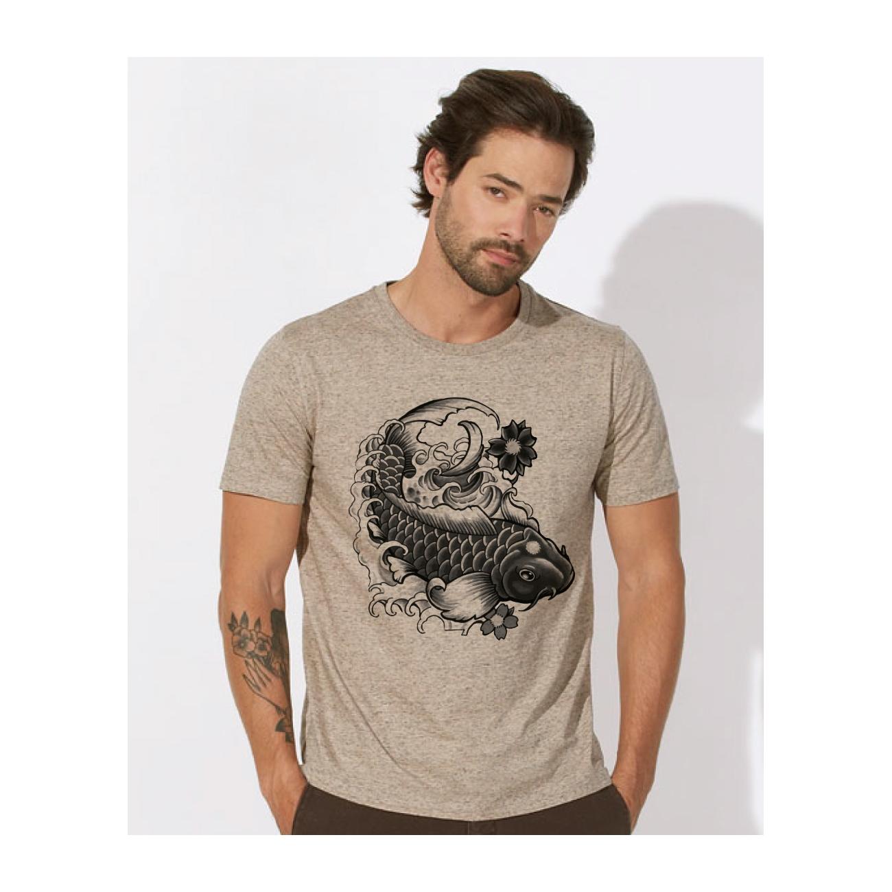 tee shirt homme 100 coton bio doux quitable beau beige chin imprim ide japonais leads. Black Bedroom Furniture Sets. Home Design Ideas
