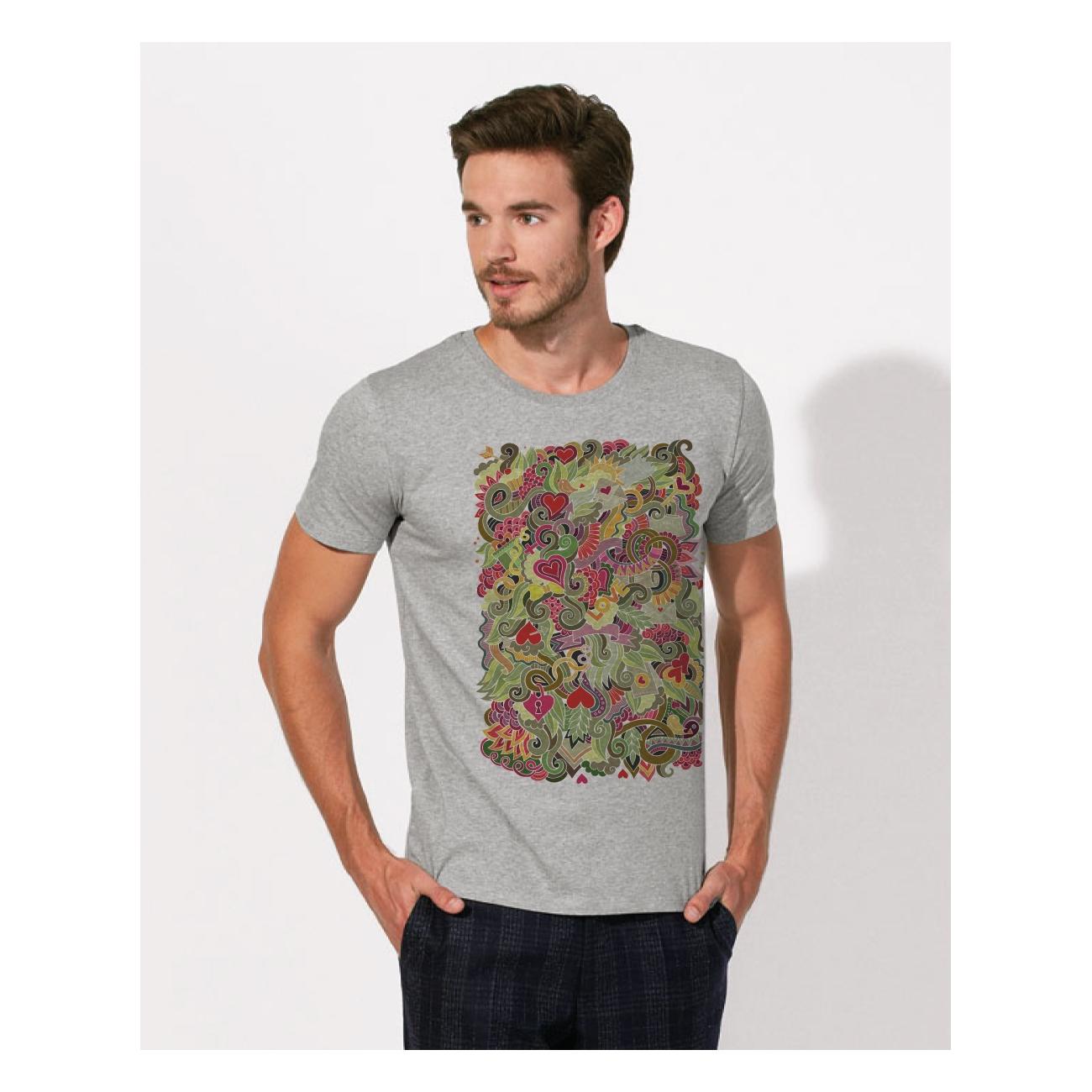 tee shirt coton bio col gris clair chin impression. Black Bedroom Furniture Sets. Home Design Ideas