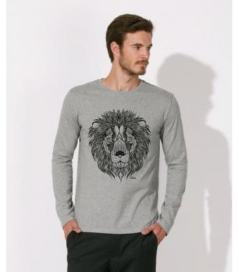 TEE-SHIRT manches longues homme 100% Coton Bio doux équitable gris chiné clair - The Lion