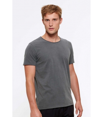 TEE-SHIRT coton Bio Homme Couleur Anthracite Col et bords francs col vintage