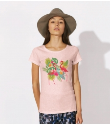 TEE-SHIRT femme Rose chiné en Coton BIO, impression flamants roses
