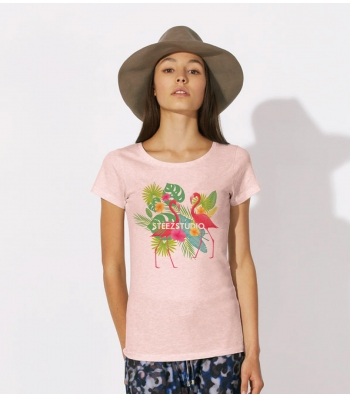 TEE-SHIRT femme Rose chiné en Coton BIO, impression flamants roses - loves