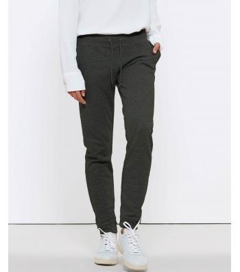 Pantalon de Jogging en coton Bio, gris foncé chiné pour Femme