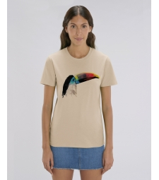 TEE-SHIRT couleur sable coton bio, impression toucan CREATOR