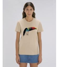 TEE-SHIRT couleur sable coton bio, impression toucan