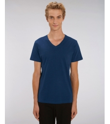 TEE-SHIRT Col V Coton Bio coton Bleu  chiné Presenter