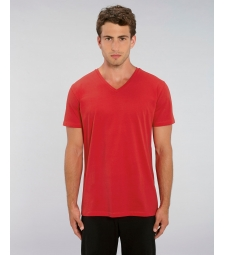 TEE-SHIRT Col V Coton Bio coton Rouge Presenter