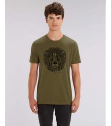 TEE-SHIRT couleur Kaki Anglais Coton Bio impression Lion noir Creator