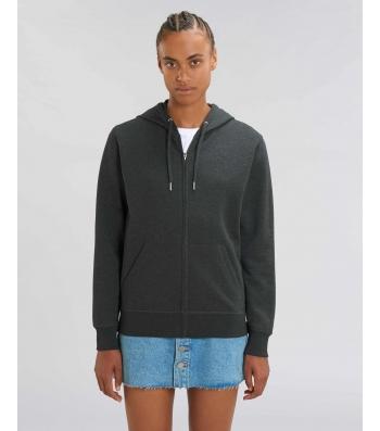 Veste-Sweat-shirt zippée légère à capuche gris foncé chiné COTON BIO - connector