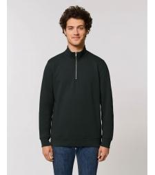 SWEAT-SHIRT col Zippée montant Homme noir coton Bio