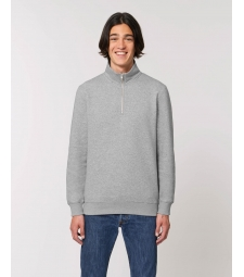 SWEAT-SHIRT col Zippée montant Homme gris chiné coton Bio