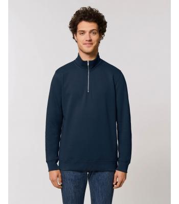 SWEAT-SHIRT col Zippée montant Homme bleu marine coton Bio