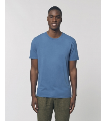 TEE-SHIRT style vintage délavé bleu Coton bio teinté pièce