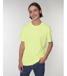 TEE-SHIRT style vintage délavé jaune fluo Coton bio teinté pièce