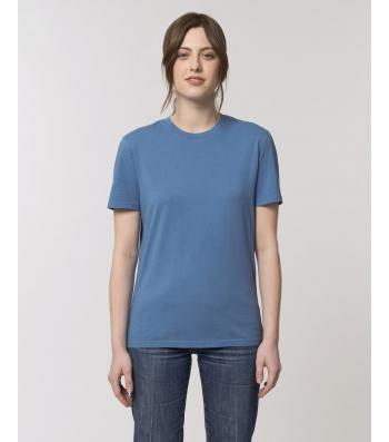 TEE-SHIRT style vintage  bleu cadet délavé Coton bio teinté pièce
