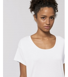 TEE-SHIRT Femme blanc coton BIO coupe loose manches tombantes