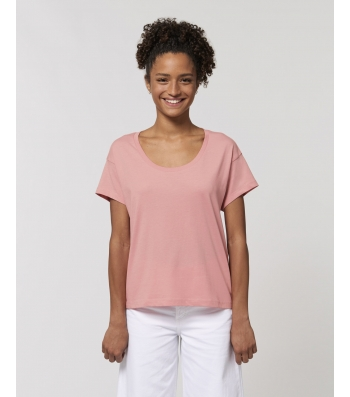 TEE-SHIRT Femme rose coton BIO coupe loose manches tombantes