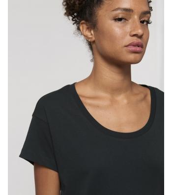 TEE-SHIRT Femme noir coton BIO coupe loose manches tombantes