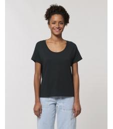 TEE-SHIRT pour Femme noir à manches montées - coton bio