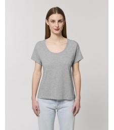 TEE-SHIRT pour Femme gris chiné à manches montées - coton bio