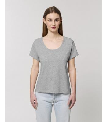 TEE-SHIRT pour Femme gris chiné coton bio coupe Loose
