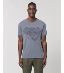 TEE-SHIRT vieux bleu vintage Coton Bio Homme impression Elephant