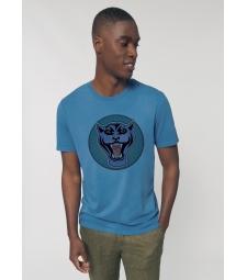 TEE-SHIRT vieux bleu vintage Coton Bio Homme impression panthère