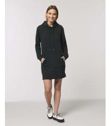 ROBE Sweat-shirt capuche Noir poche kangourou Coton Bio