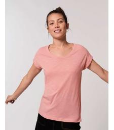 TEE-SHIRT Femme rose manches repliées Coton BIO FWF