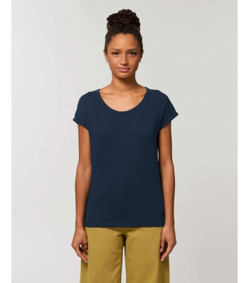 TEE-SHIRT Femme bleu navy manches repliées Coton BIO FWF