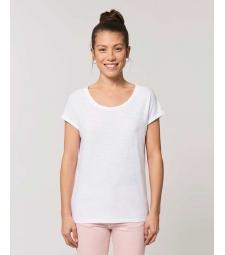 TEE-SHIRT Femme blanc manches repliées Coton BIO FWF